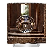 Crystal Ball In Wooden Lanterns Shower Curtain