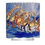 Curious Giraffes  Shower Curtain