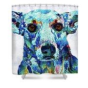 Custom Dog Art - Nina - Sharon Cummings Shower Curtain by Sharon Cummings