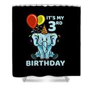 Cute 3rd Third Birthday Elephant Shower Curtain
