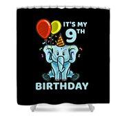 Cute 9th Ninth Birthday Elephant Shower Curtain