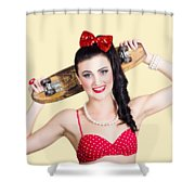 Cute Pinup Skater Girl In Punk Glam Fashion Shower Curtain