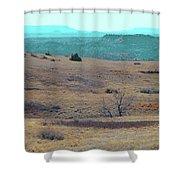 Cyan Horizon Shower Curtain