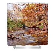 Cypress Creek As It Exits Blue Hole Regional Park In Wimberley, Hays County Texas Hill Country Shower Curtain