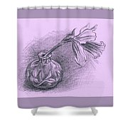 Daffodil In A Ceramic Vase Shower Curtain by MM Anderson