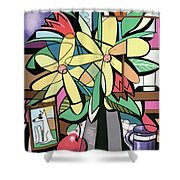 Daisy's And Tulips Shower Curtain by Anthony Falbo