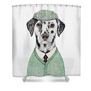 Dalmatian Mint Shower Curtain by Animal Crew