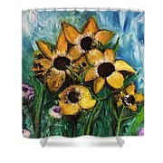 Dancing Flowers Shower Curtain by Laurie Lundquist
