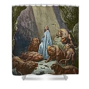 Daniel In The Den Of Lions  Engraving By Gustave Dore Shower Curtain