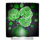 Dark And Delicious Roses  In Green Shower Curtain
