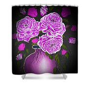 Dark And Delicious Roses In Pink Lilac Shower Curtain