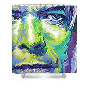 David Bowie Portrait In Aqua And Green Shower Curtain