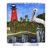 Aceo Dawn At Jupiter Inlet Lighthouse Florida 52a Shower Curtain by Ricardos Creations