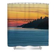 Deception Pass Bridge Sunset Light Shower Curtain