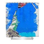 Defending Liberty Watercolor By Ahmet Asar Shower Curtain