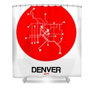 Denver Red Subway Map Shower Curtain