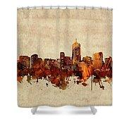 Denver Skyline Sepia Shower Curtain