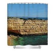 Deserta Beach Scene In Algarve Shower Curtain