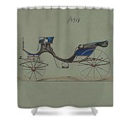 Design For Cabriolet Or Victoria, No. 3914  1884 Shower Curtain