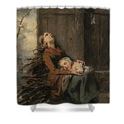 Destitute Dead Mother Holding Her Sleeping Child In Winter, 1850 Shower Curtain