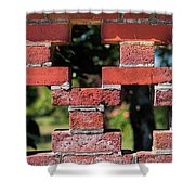 Details Of A Red Brick Wall With Pattern Shower Curtain