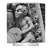 Devil Fanning The Fire, From The Last Judgement Of The Cathedral Of St Etienne In Bourges  Shower Curtain