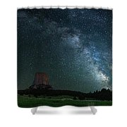 Devil's Tower At Night Shower Curtain by Gary Lengyel