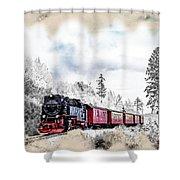 Diesel Powered Passenger Train Shower Curtain