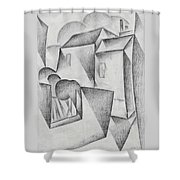 Digital Remastered Edition - Houses In Paris, Place Ravignan - Original White Shower Curtain