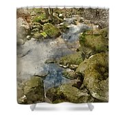 Digital Watercolor Painting Of Autumn Fall Forest Landscape Stre Shower Curtain