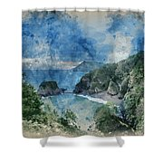 Digital Watercolor Painting Of Beautiful Dramatic Sunrise Landsa Shower Curtain