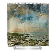 Digital Watercolor Painting Of Beautiful Landscape Panorama Suns Shower Curtain