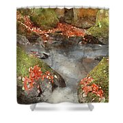 Digital Watercolor Painting Of Blurred Water Detail With Rocks N Shower Curtain