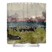 Digital Watercolor Painting Of Cattle In Field During Misty Sunr Shower Curtain