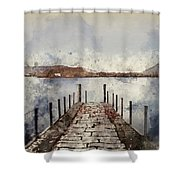 Digital Watercolor Painting Of Landscape Image Of Derwent Water  Shower Curtain