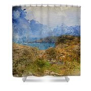 Digital Watercolor Painting Of Lizard Point And Lighthouse, The  Shower Curtain