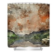 Digital Watercolor Painting Of Llyn Nantlle At Sunrise Looking T Shower Curtain