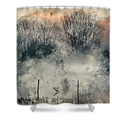 Digital Watercolor Painting Of Panorama Landscape Of Lake In Mis Shower Curtain