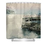 Digital Watercolor Painting Of Peaceful Landscape Of Stone Jetty Shower Curtain