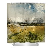 Digital Watercolor Painting Of Stunning Countryside Landscape Wh Shower Curtain