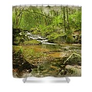 Digital Watercolor Painting Of Stunning Landscape Iamge Of River Shower Curtain