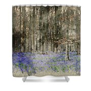 Digital Watercolor Painting Of Stunning Landscape Of Bluebell Fo Shower Curtain