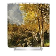 Digital Watercolor Painting Of Stunning Vibrant Autumn Forest La Shower Curtain