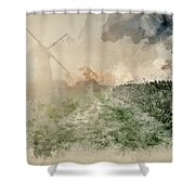 Digital Watercolor Painting Of Windmill In Stunning Landscape On Shower Curtain