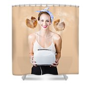 Diner Pinup Girl Serving Breakfast Love Shower Curtain