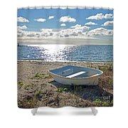 Dinghy On A Sunny Beach Shower Curtain