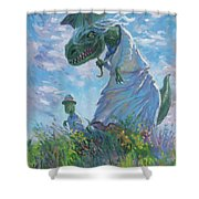 Dinosaur And Son With A Parasol  Shower Curtain