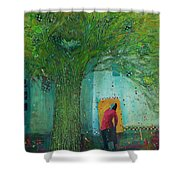 Discovery An Abstract Painting By Laura Hunt Shower Curtain