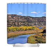 Distant Boat On The San Juan River In Fall Shower Curtain