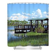 Dock On The River Shower Curtain